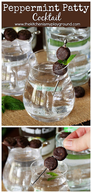 Peppermint Patty Cocktail ~ Make this super easy chocolate-minty deliciousness with just 2 ingredients. an adorable mini peppermint pattie garnish sure adds to this tasty cocktail's fun.  Enjoy sipping on one as an after-dinner, St. Patrick's Day, or any day treat! #peppermintpatties #afterdinnerdrinks #mintdrinks #mintcocktails #StPatricksDay  www.thekitchenismyplayground.com