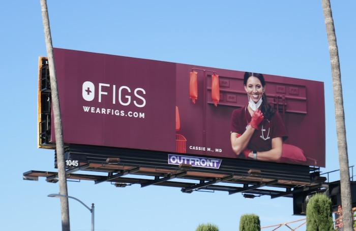 FIGS scrubs Cassie M MD billboard