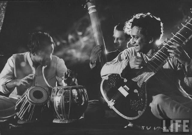 Ravi Shankar sitar concert black and white 1950s