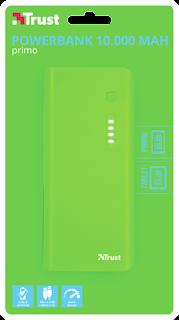 trust power bank caricabatterie power bank10000 mah verde 22748