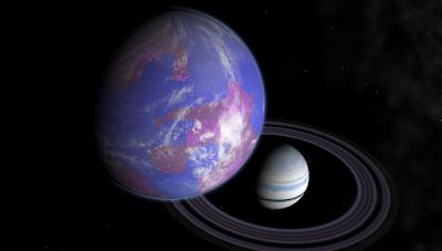 Raffigurazione artistica di un ipotetico satellite abitabile che ruota attorno un pianeta extrasolare (Fonte: NASA)