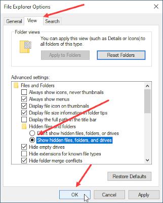 menampilkan file folder tersembunyi