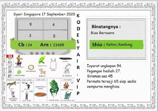 Kode syair Singapore Kamis 17 September 2020 192