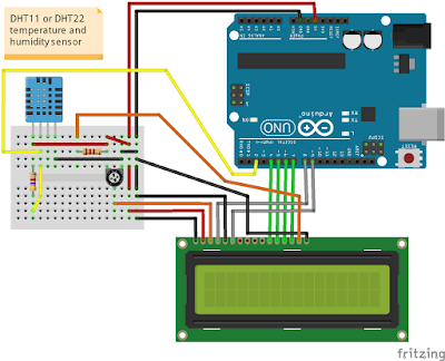 Measure temperature and humidity with Arduino and DTH11/22