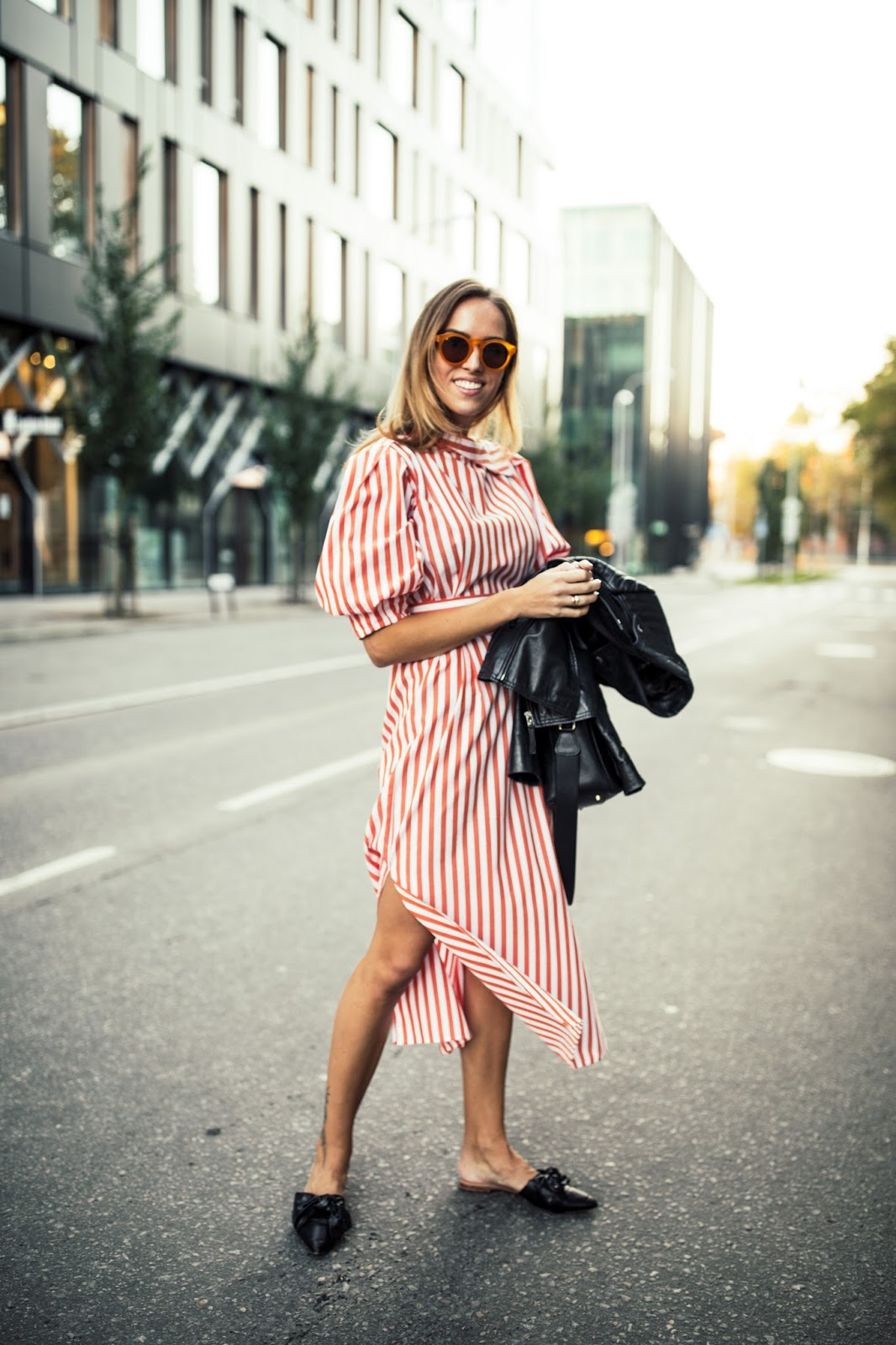 red stripe midi dress outfit