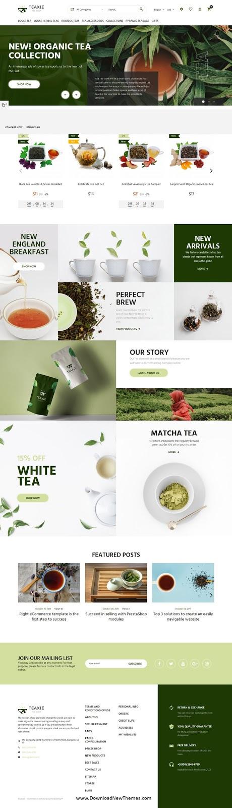 Organic and Herbal Tea Store PrestaShop Theme
