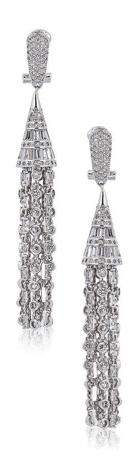 Fallon Monarch Deco Tuile Earrings in Clear