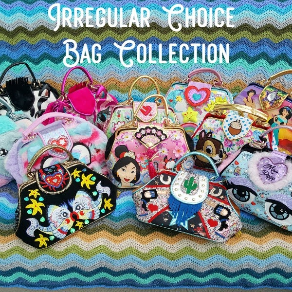 collection of Irregular Choice handbags on brightly coloured background
