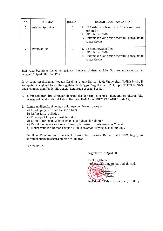 Penerimaan Pegawai Tenaga Tidak Tetap Rumah Sakit Universitas Gadjah Mada