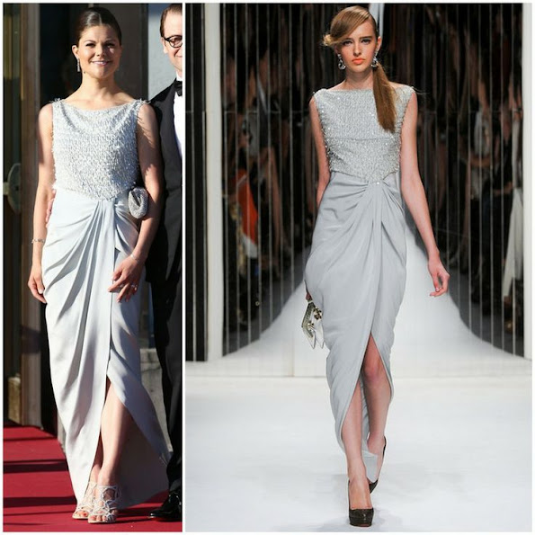 Crown Princess Victoria of Sweden wore Jenny Packham Dress in Blue