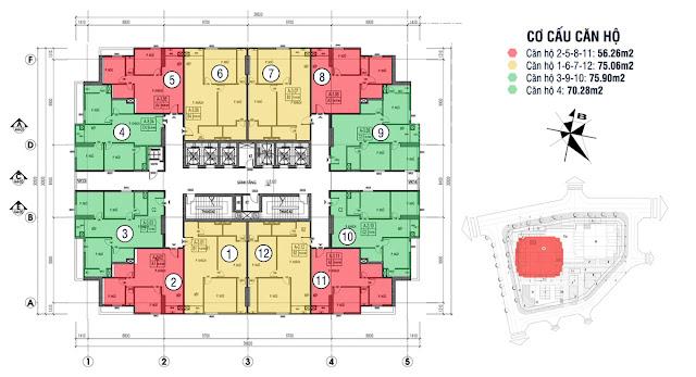 Các căn hộ từ 2-3 phòng ngủ với diện tích vàng từ 56 – 70 – 76 m2.