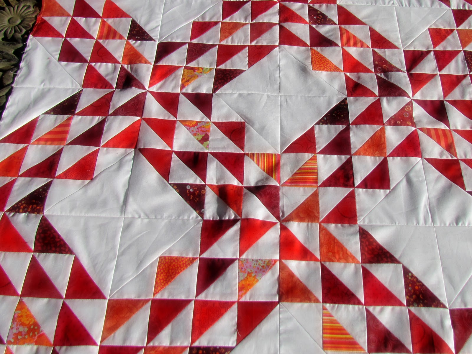 Martys Fiber Musings Ocean Waves With Red And White Half Square