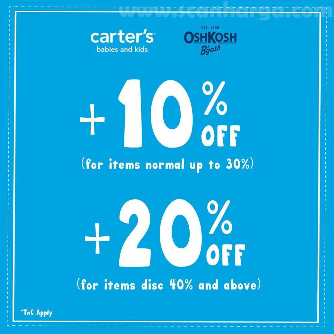 Promo Oshkosh B'gosh Carter's Get +10% Off & Get +20% Off