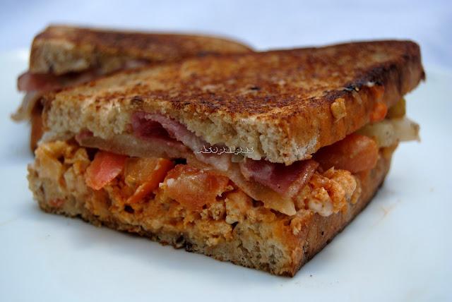 Sándwich casero con Carne Picada, Tomate y Bacon