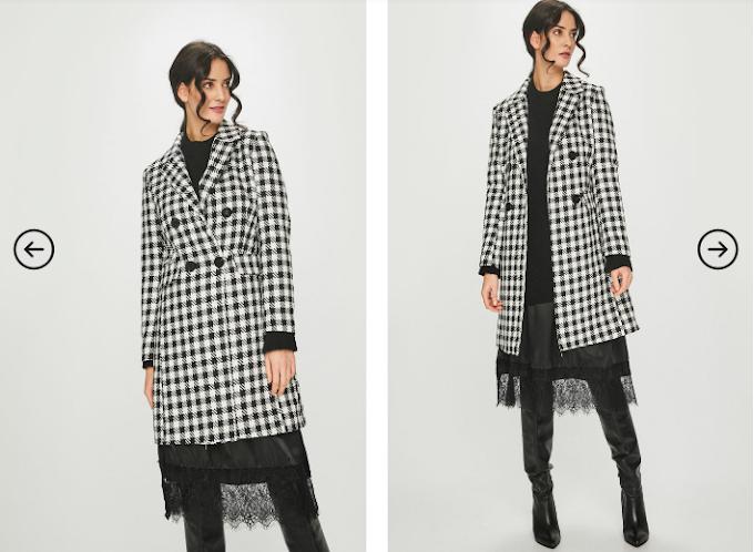 Palton modern de femei de firma ieftin negru in carouri Answear