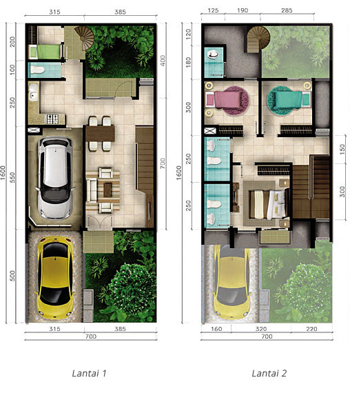 Lingkar Warna Denah Rumah Minimalis Ukuran 7x16 Meter 4 Kamar Tidur 2 Lantai Tampak Depan