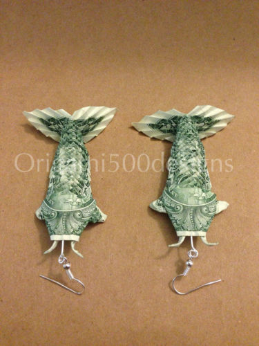 dollar fish origami earrings