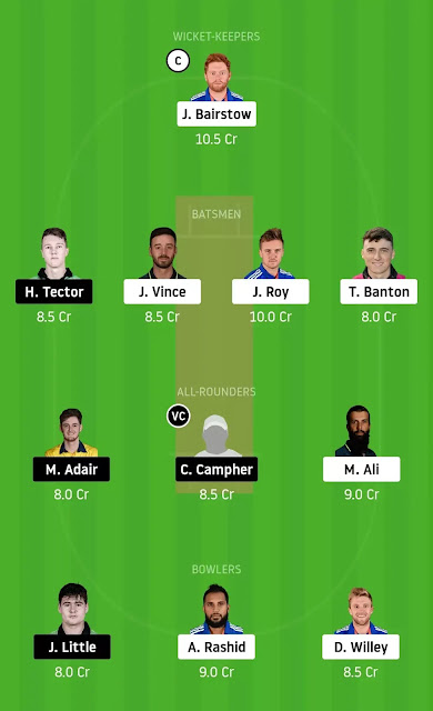 Dream 11 Team Eng vs Ire