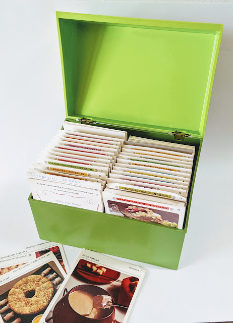 image of big green box with recipes in them