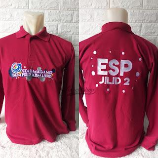 Kaos Polo Bordir Seragam Merah Maroon Lengan Panjang