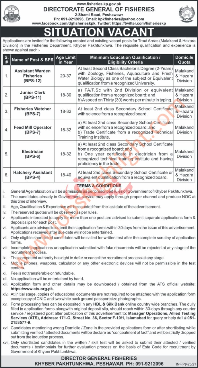 Directorate General of Fisheries kpk jobs 2021 january for Clerks