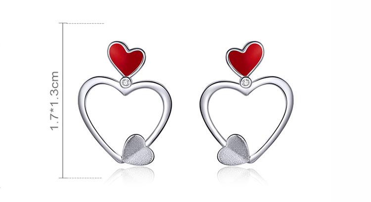 Love World雙色愛心 925純銀滴釉耳環