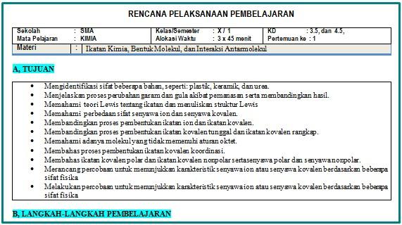 Download RPP 1 Lembar Kimia Kelas 10 Semester 1