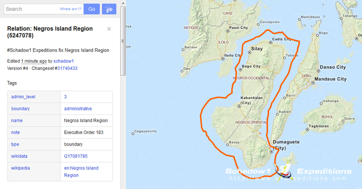 Negros Island Region on OpenStreetMap