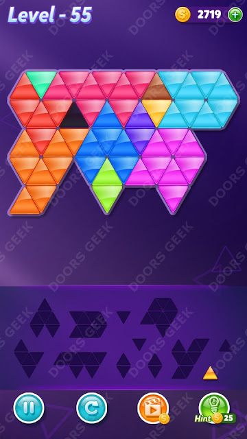Block! Triangle Puzzle 12 Mania Level 55 Solution, Cheats, Walkthrough for Android, iPhone, iPad and iPod