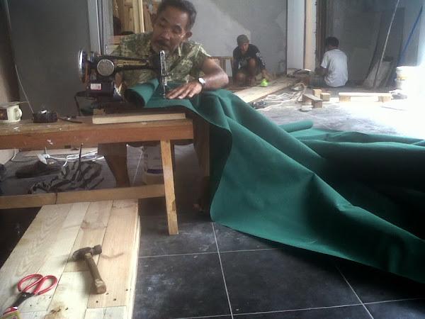 pengerjaan bahan canopy kain