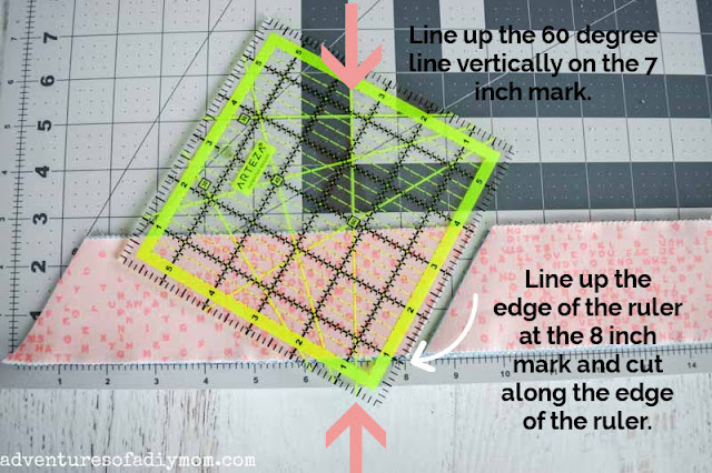 cutting strips of fabric at a 60 degree angle