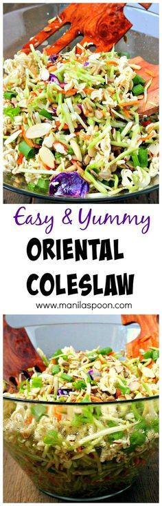 Very easy and tasty salad to make - ramen noodles, almonds and sunflower seeds provide the crunch and the dressing is quite tasty. You can't go wrong with this Oriental / Asian Coleslaw. Perfect for picnics and potlucks, or any gathering