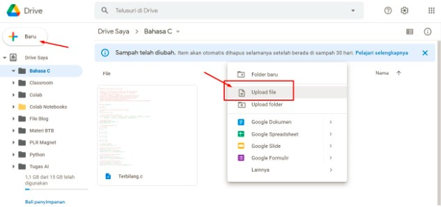 Cara Upload File di Google Drive