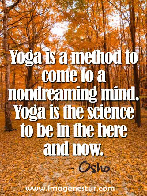 Yoga is a method to come to a nondreaming mind Yoga is the science to be in the here and now