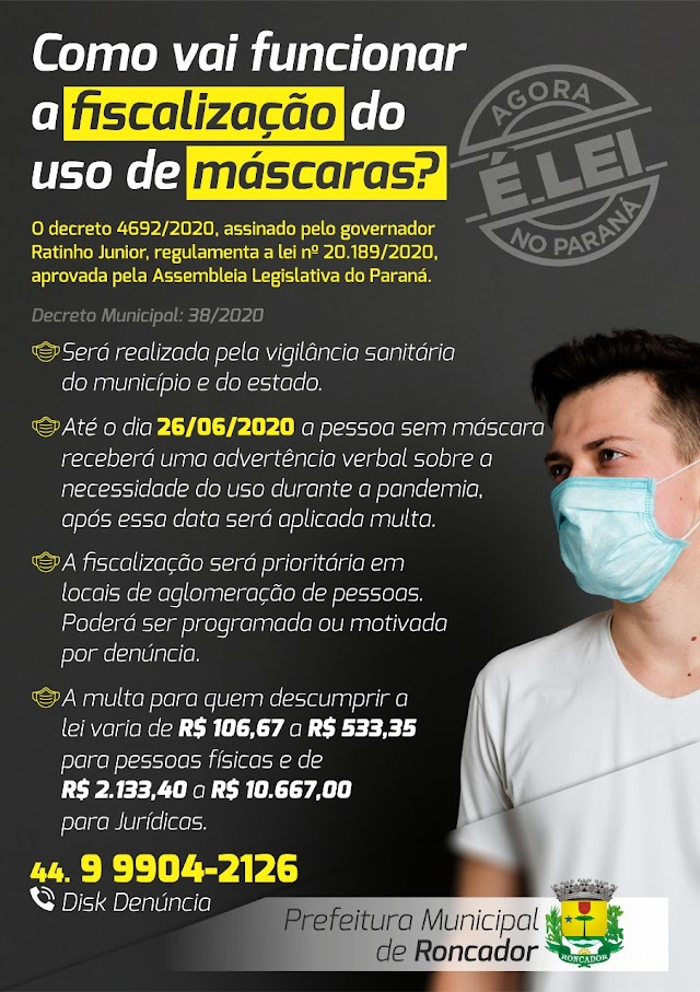 Roncador-Como vai funcionar a fiscalização do uso de máscaras