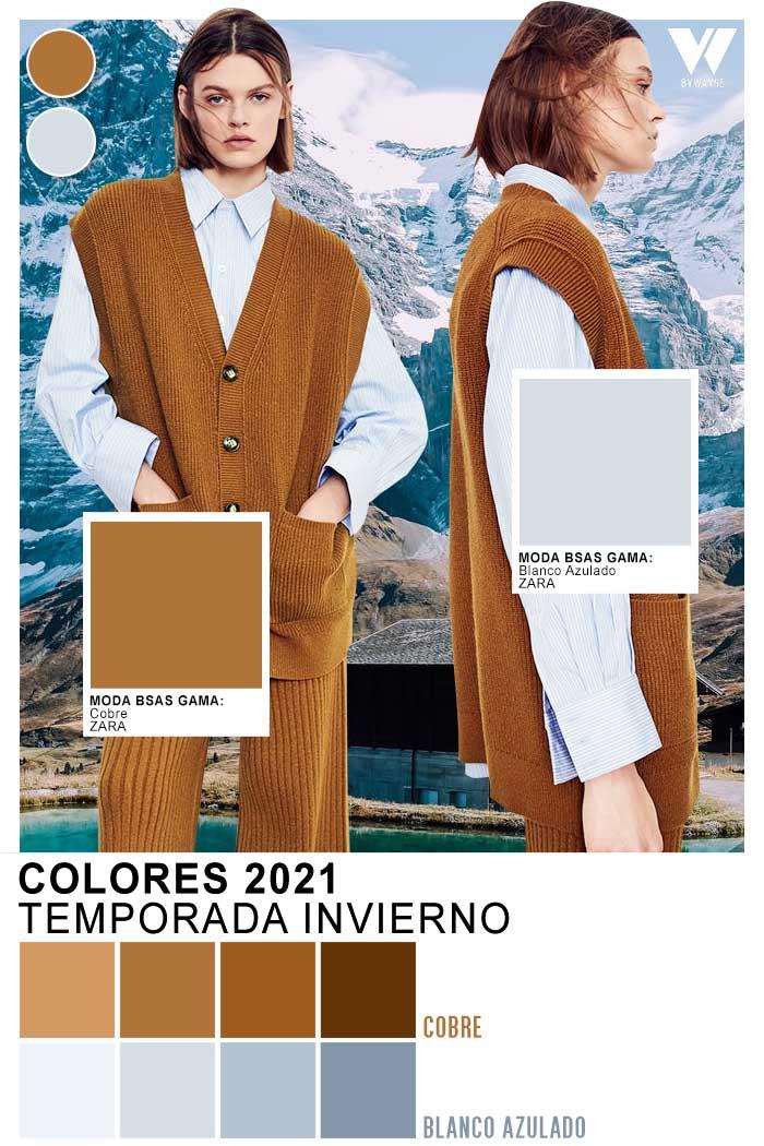 Cobre y blanco azulado colores de moda otoño invierno 2021