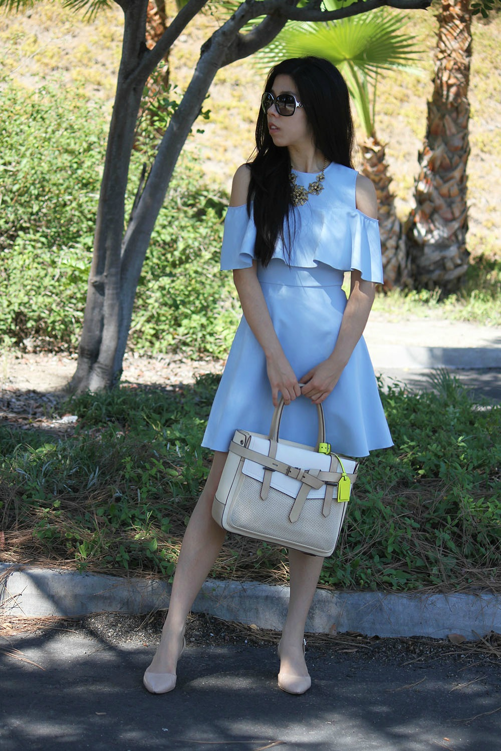 Zara Ruffle Dress with Sam Edelman Gold Block Heels and Reed Krakow Boxer Tote _ Adrienne Nguyen _ INVICTUS _ Student Pharmacist