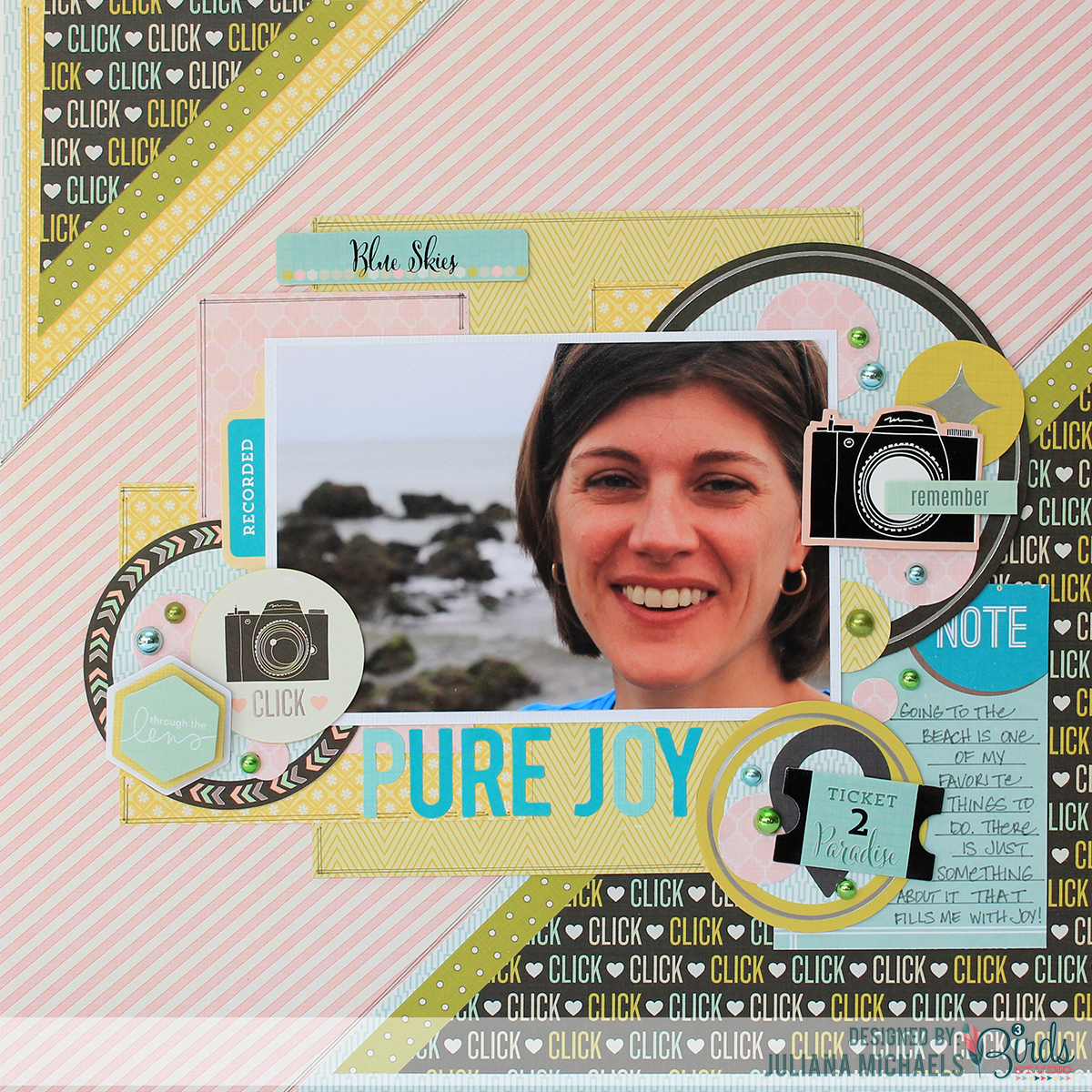 Pure Joy Scrapbook Page by Juliana Michaels featuring 3 Birds Design Midday Medley collection and August Scrapbook Sketch