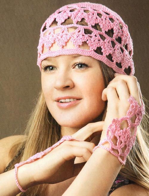 Crochet hat and hand bracelet, lace