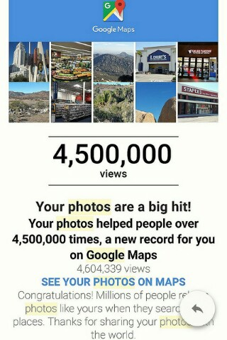 Conratulatory email from Google Maps. Recipient has 4.5 million photo views.