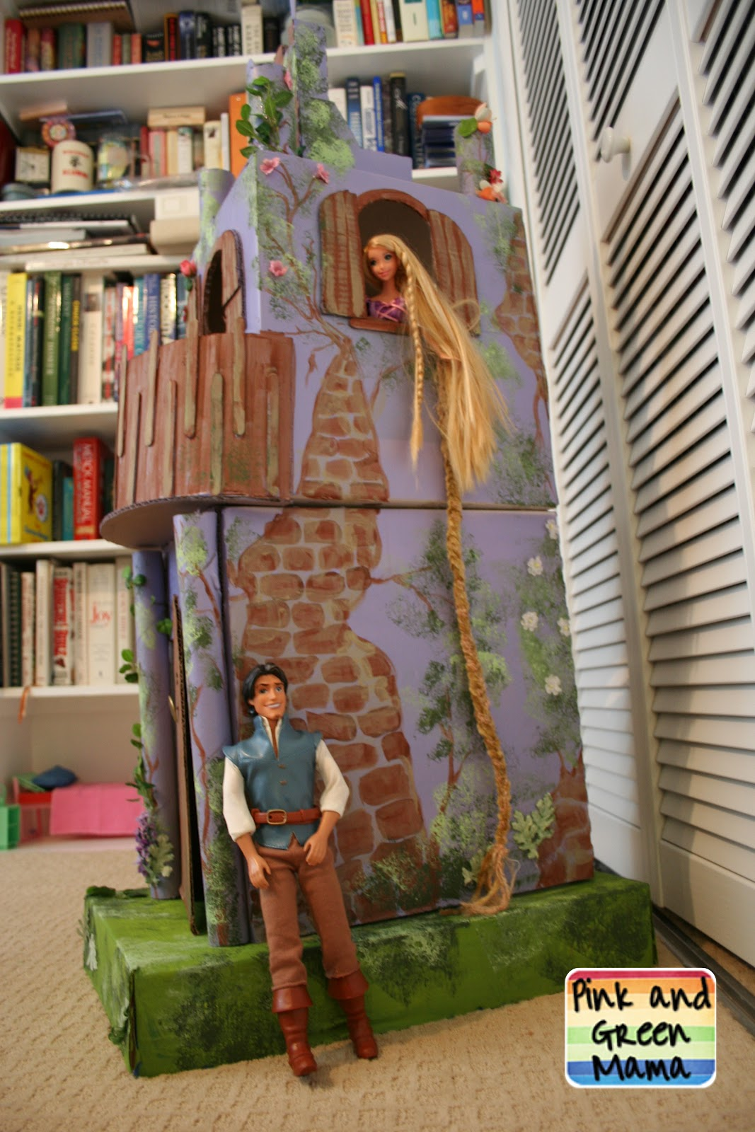 Pink And Green Mama Cardboard Rapunzel Castle Homemade
