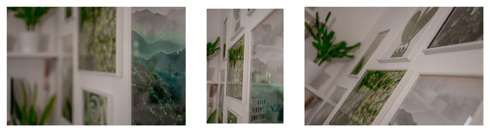 14ajak urządzić biuro w domu - dekoracje do biura, zielona ściana w mieszkaniu, jak zaprojektować galerię plakatów, plakaty krajobrazy rośliny na ścianę jak zawiesić obraz na ścianie plakat na ścianę