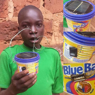 Meet Tony The Young Boy Who Produced USB Charging Point From Old Margarine Tubs And Damaged Solar Panel