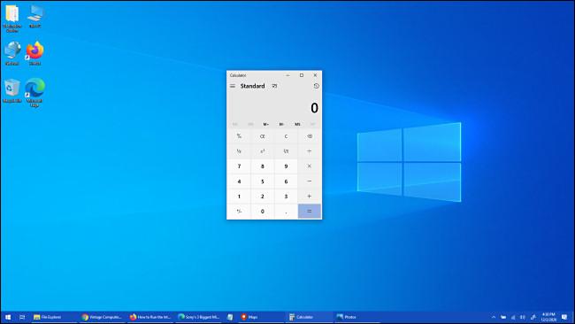 تم وضع تطبيق Windows 10 Calculator في المقدمة.