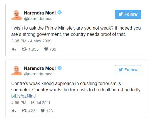 I wish to ask the Prime Minister, are you not weak? If indeed you are a strong government, the country needs proof of that. AND Centre's weak-kneed approach in crushing terrorism is shameful. Country wants the terrorists to be dealt hard-handedly