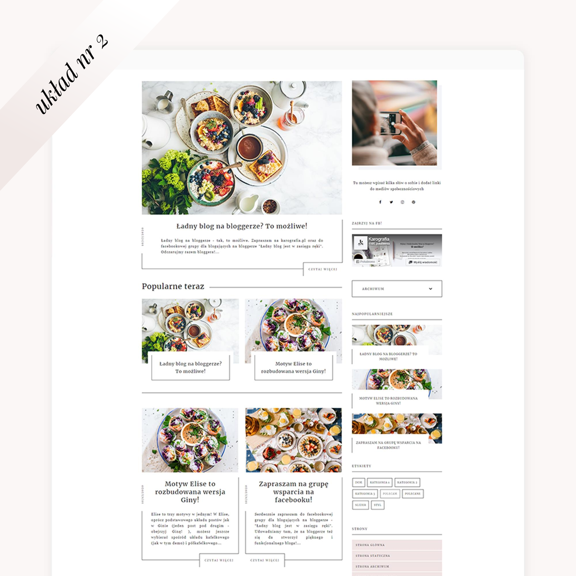 multi motyw na bloggera Elise - układ postów nr 2