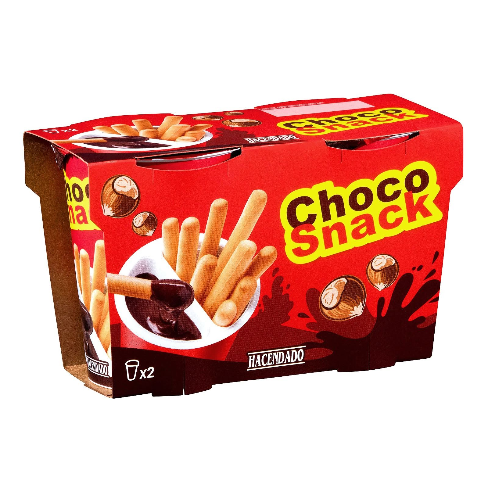 Vasitos de crema de cacao y avellanas con palitos de pan para untar Choco Snack Hacendado