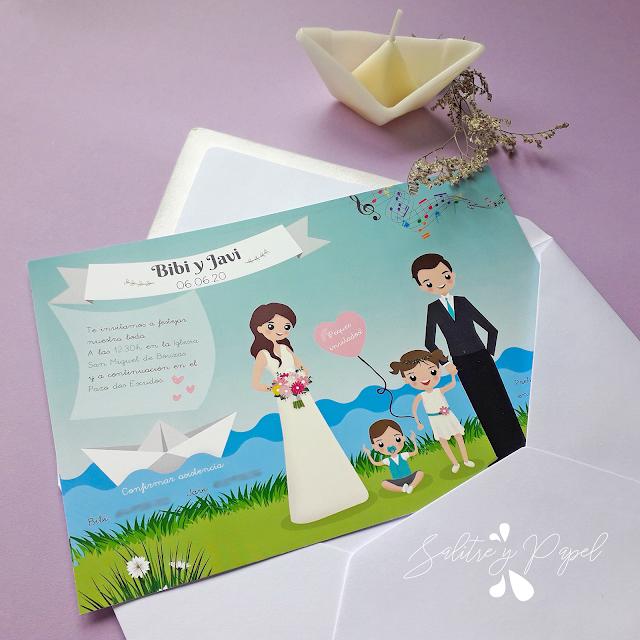 invitación de boda con niños
