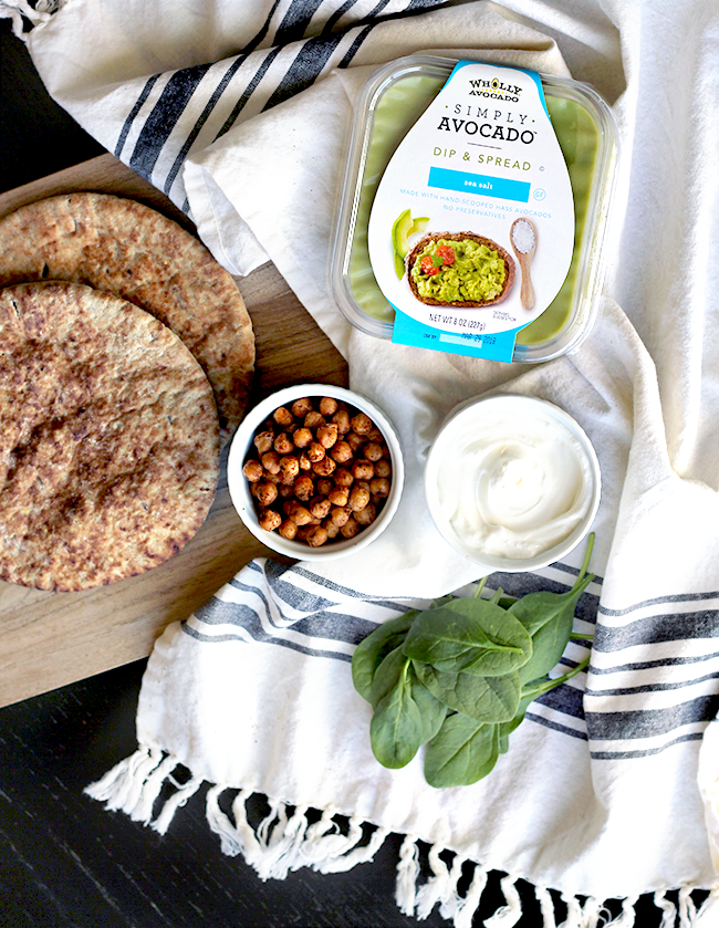 Avocado and Pan Toasted Chickpea Pitas