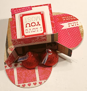 Adding candy to DIY Valentine Candy Box made with cardstock